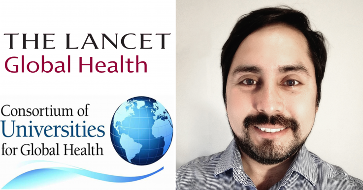 Profile photo of Coco Alarcon with CUGH and The Lancet Global Health logos