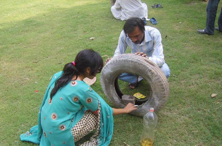 Searching for mosquito breeding grounds in Pakistan