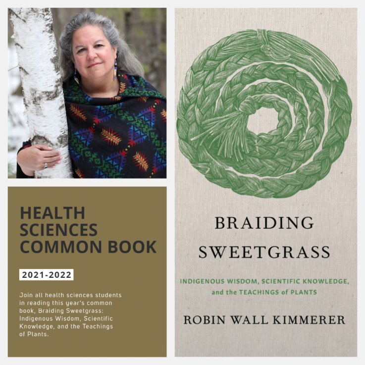 Author Robin Wall Kimmerer with the Cover Art of Braiding Sweetgrass