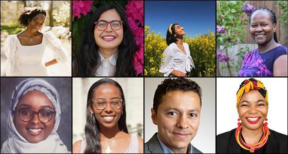 Clockwise from upper left: Dorothy Thomas, Evalynn Romano, Avneet Bhullar, Beatrice Wamuti, Naomi Nkinsi, Juan Osorio, Debora Ferede, Sumaya Mohamed