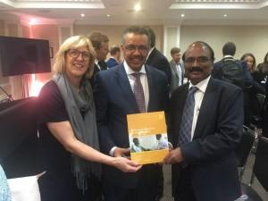Dr. Rachel Nugent, WHO Director-General Dr. Tedros, and DCP3 volume 5 lead editor Dr. D. Prabhakaran celebrate the launch of the DCP3 series.