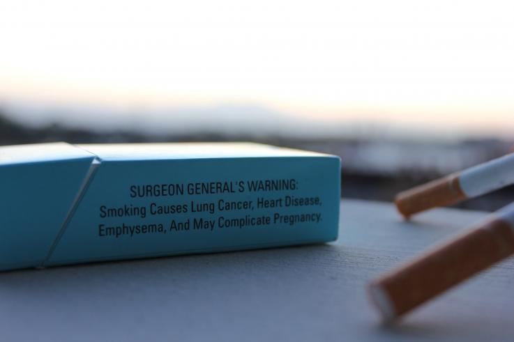 Photo of a cigarette warning label