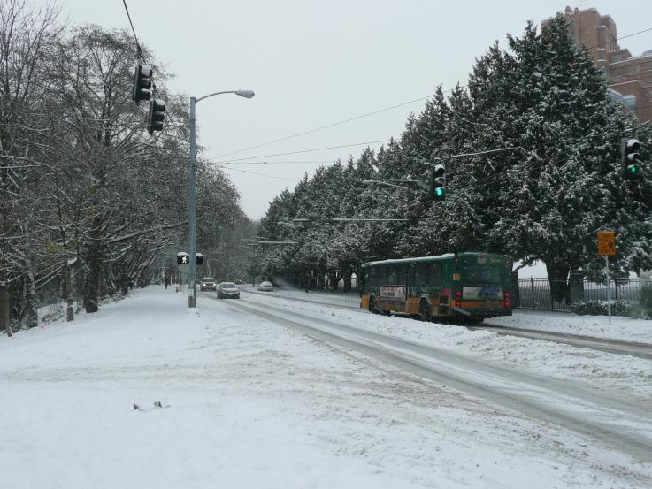 Photo of a snowy road in Seattle
