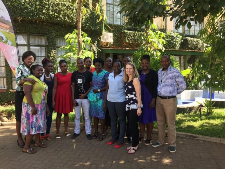 Photo of Dr. Alison Drake and the mCUBE research team at a January 2018 training in Kisumu, Kenya