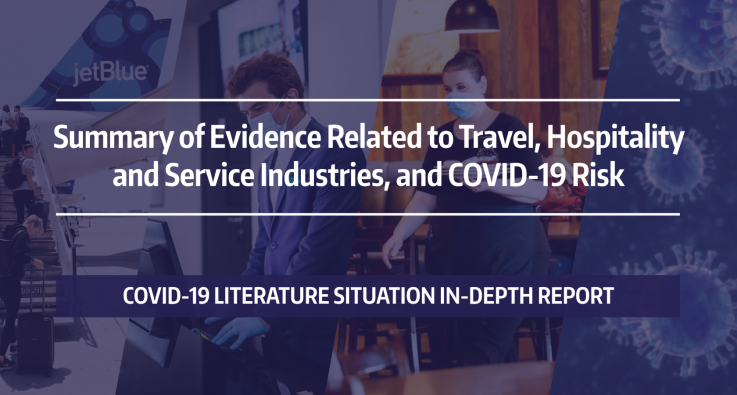 """Graphic with the words: """"Summary of Evidence Related to Travel, Hospitality and Service Industries, and COVID-19 Risk"""""""