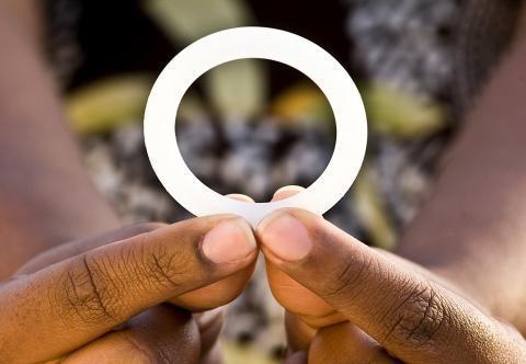 A woman holds the dapivirine vaginal ring