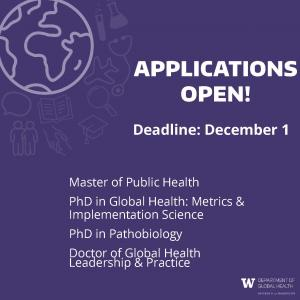 Graphic with purple background and image of a globe and the text: Applications Open. Deadline December 1. List of graduate degree programs.