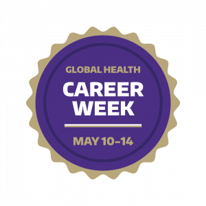 Graphic with words: Global Health Career Week May 10-14