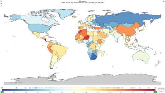 Map of health outcomes compared to expected health outcomes based on development status