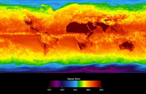 The Global Average Brightness Temperature on a world map