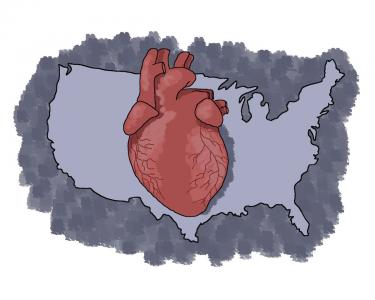Image of a heart and the United States