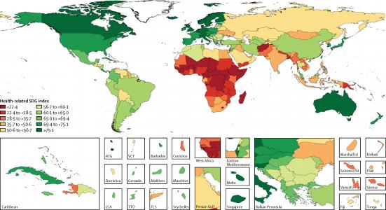 Map of performance on health-related Sustainable Development Goal (SDG) index, by country
