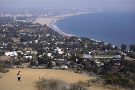 Pacific Palisades — A hiker walks along Los Leones Trail in August 2021. (Genaro Molina / Los Angeles Times)
