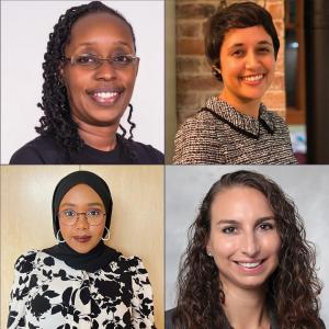 Photo collage of outstanding global health student award winners. Clockwise from top left: Dr. Elizabeth Irungu, Veronica Angali Davé, Alyssa Hummel, Saida Mahamud Tukri