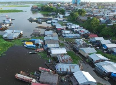 Floating community of Claverito in Iquitos, Peru
