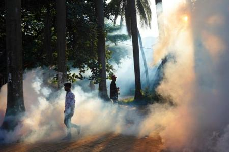 People walking after a worker sprays pesticide to kill mosquitoes at a public park. The recent spike in dengue cases has added to the worries as the country continues to struggle with the devastating second wave of the Covid-19 pandemic. Credit: Sultan Ma