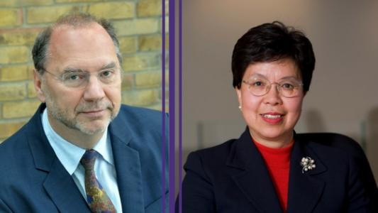 Photo of Peter Piot and Margaret Chan