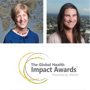 Profile photo of Rachel Nugent and Patricia Pavlinac with the WGHA Global Health Impact Awards logo