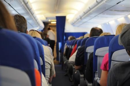 Photo of people in an airplane