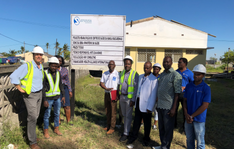 Professor James Pfeiffer joins the HAI-Mozambique team and partners at Manga Mascarenhas Health Center where HAI is leading the rebuild of this public-sector primary health care facility.
