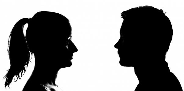 Silhoutte of woman and man