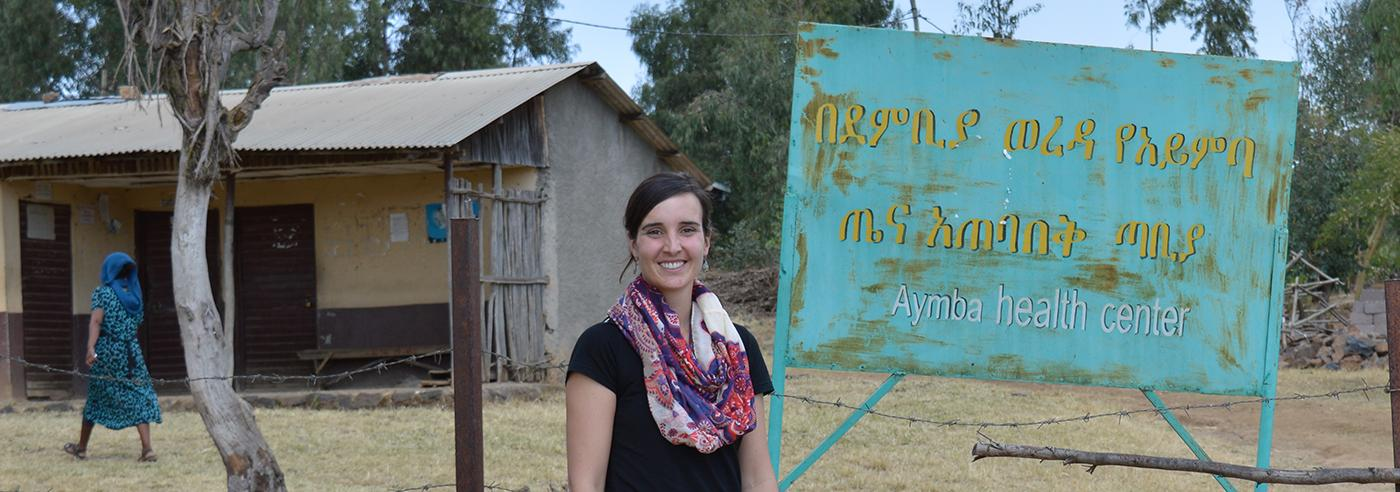 Anna Bazinet in front of Clinic in Ethiopia