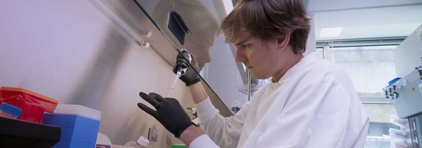 Photo of Pathobiology student using a pipet