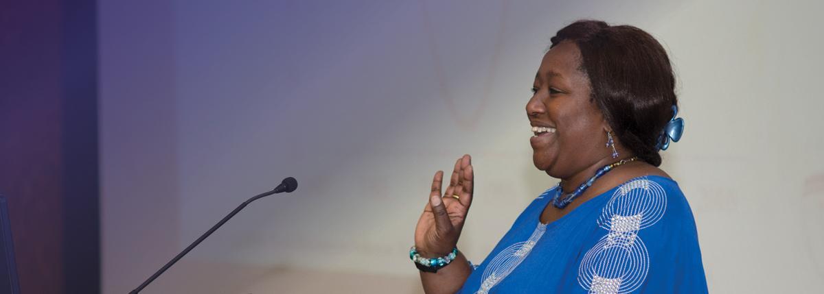 Photo of Dr. Agnès Binagwaho speaking at UW