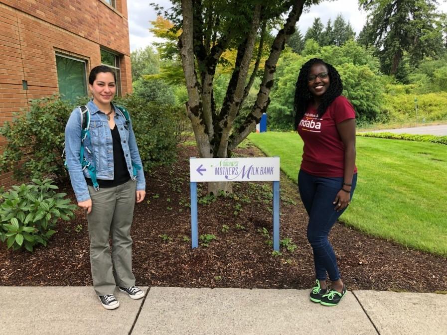 UW Global Health MPH students Miriana Duran and Brenda Kharono at the Northwest Mothers Milk Bank in Portland, Oregon.