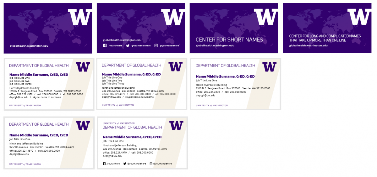UW DGH business cards
