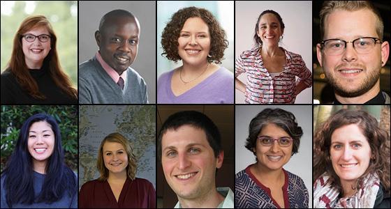 Clockwise from upper left: Yvette Hererra Greer, Kenneth Mugwanya, Anna Talman Rapp, Beatriz Thome, Jay Vornhagen, Hannah Atlas, Julia Guerrette, Eli Kern, Rena Patel, Katrina Ortblad.