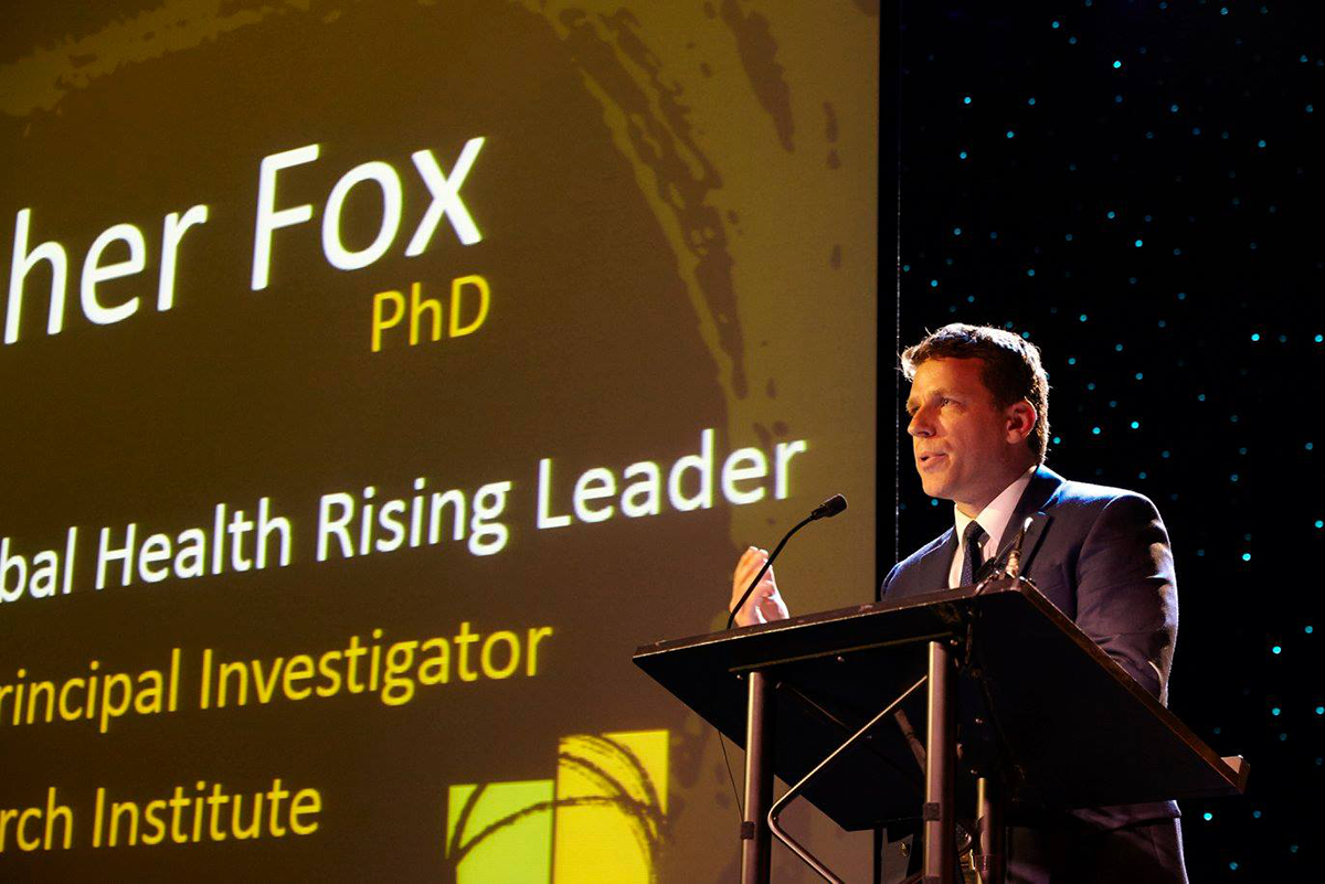Christopher Fox accepts his award