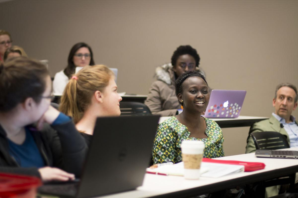 Photo of students attending class at the University of Washington School of Public Health