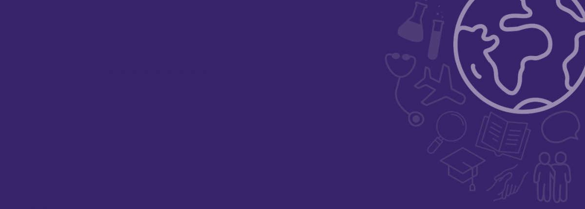Purple background with graphic of globe in upper right corner
