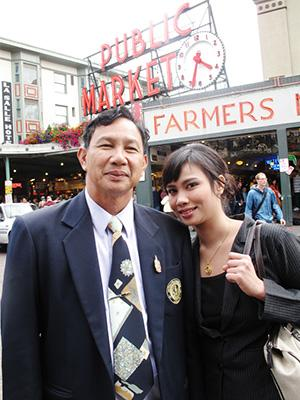 Nuttada with her father at Pike Place Market