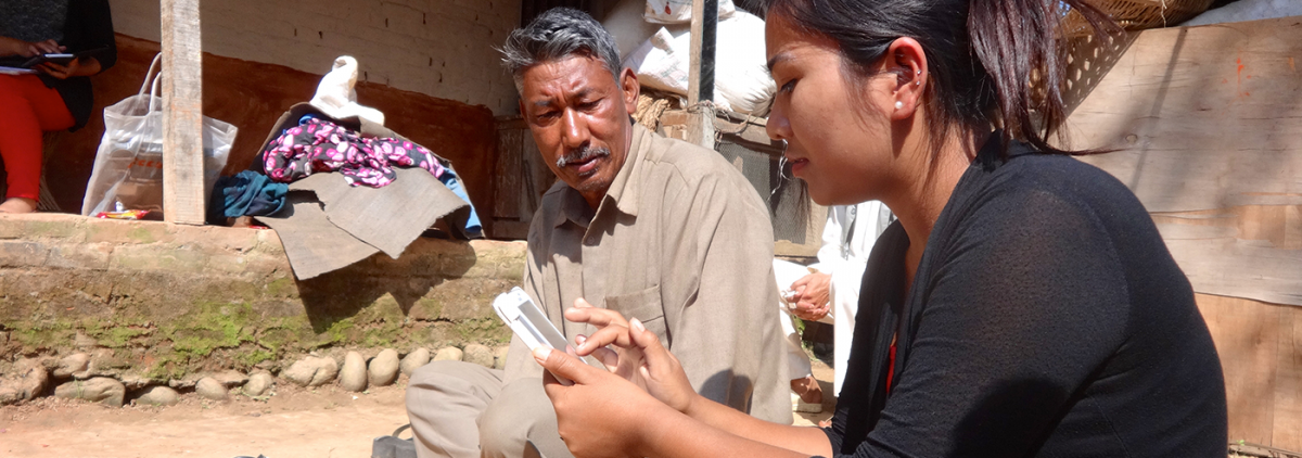 Conducting interviews in Dhulikhel with a verbal autopsy tool.