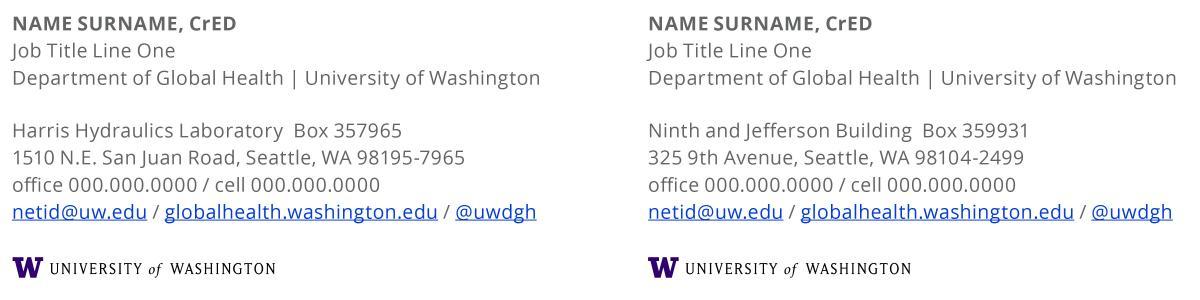 UW email signature format