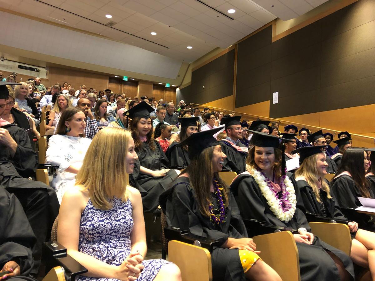 Graduates sit in Kane Hall during the 2019 ceremony