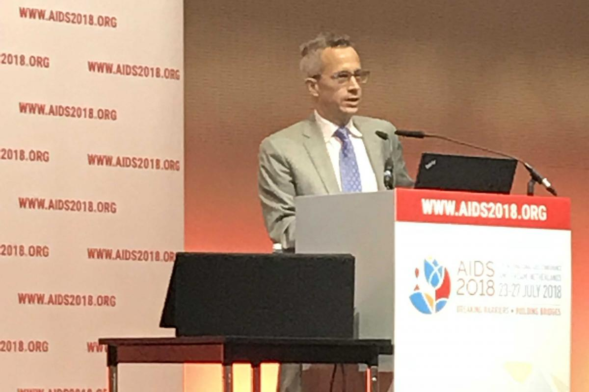 "Dr. Jared Baeten presents on ""What we know about PrEP from efficacy to effectiveness?"" at the AIDS 2018 conference."