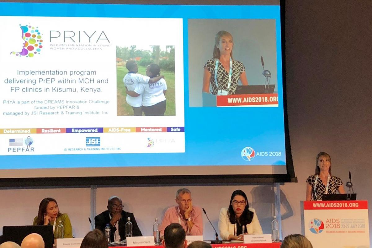 Dr. Jillian Pintye presented on the PrEP Implementation for Young Women and Adolescents (PrIYA) program at the AIDS 2018 conference.