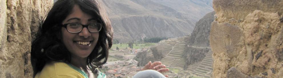 Photo of certificate student at ruins in Peru