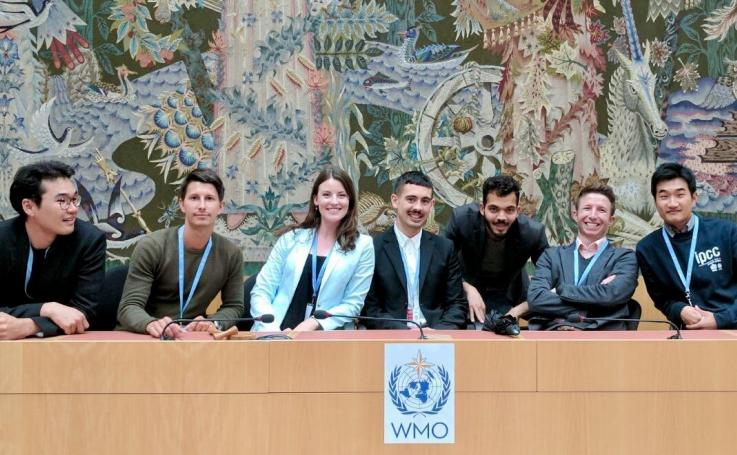 Photo of WMO interns and Nathaniel, in Switzerland