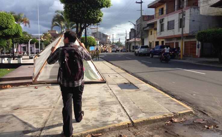 "Jorge ""Coco"" Alarcon transports mosquito traps"